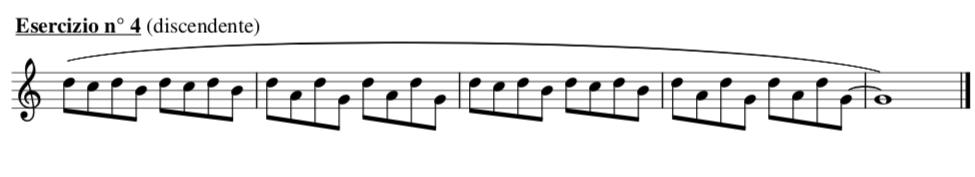 esempio di intervalli alternati di seconda e terza e quarta e quinta discendenti