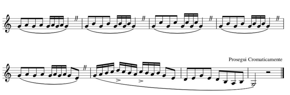 Esercizio riassuntivo basato su intervalli di seconda, terza e quarta.