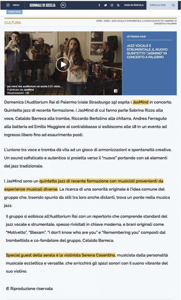Articolo Giornale di Sicilia a titolo promozionale Concerto Rai